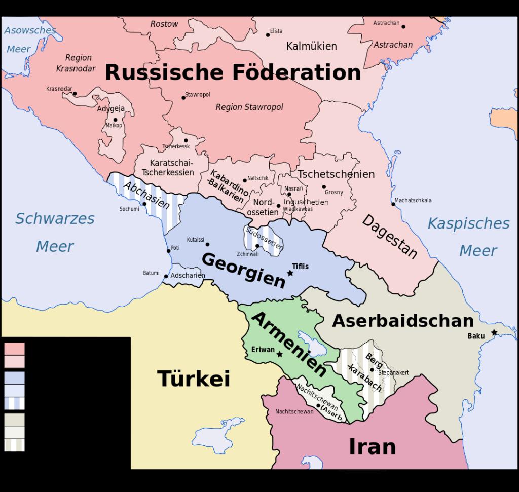 Lizenz: CC by-sa 3.0; Rechteinhaber: Don-kun, Jeroencommons, Pmx; Original: Caucasus-political_en.svg