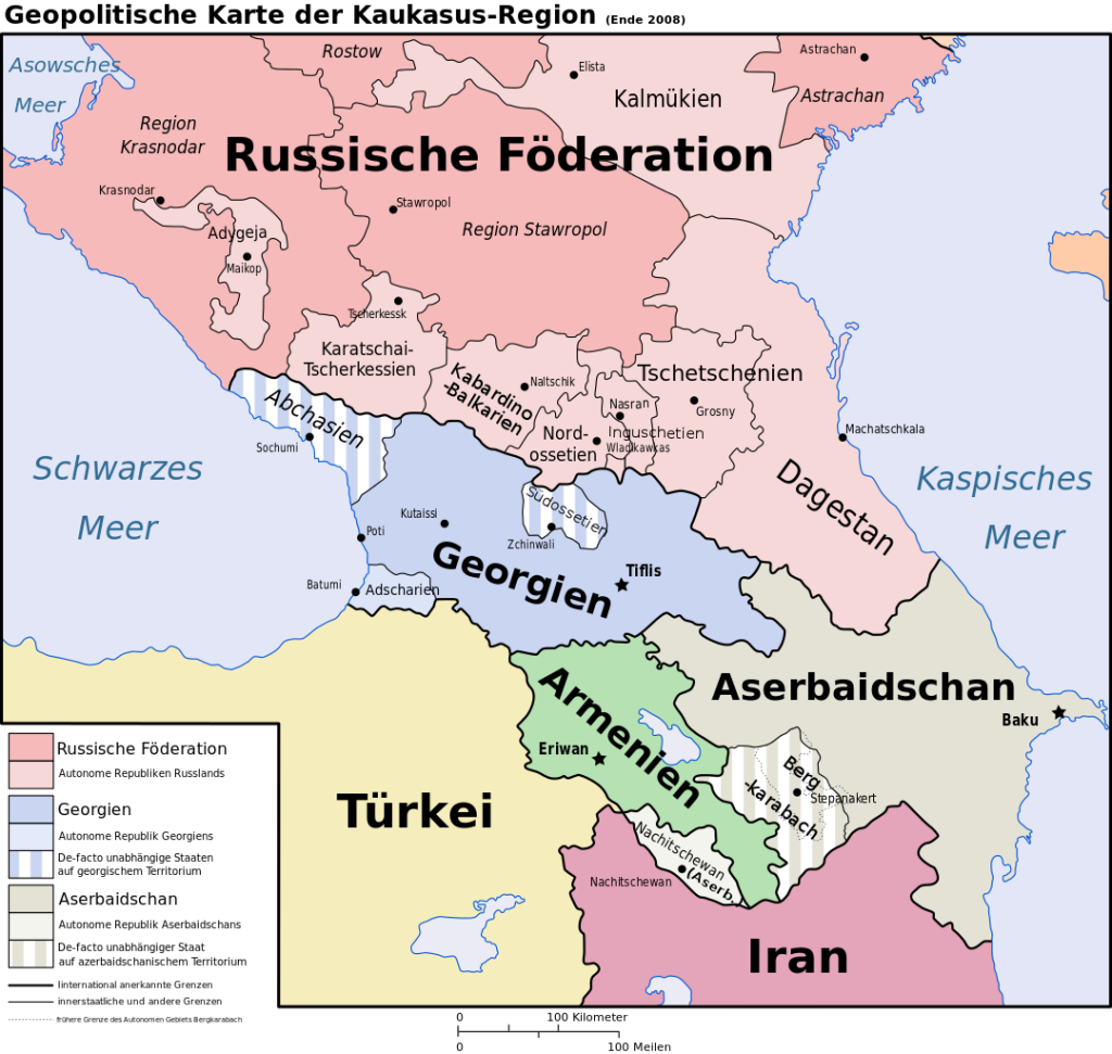 Kaukasus-Politische Karte